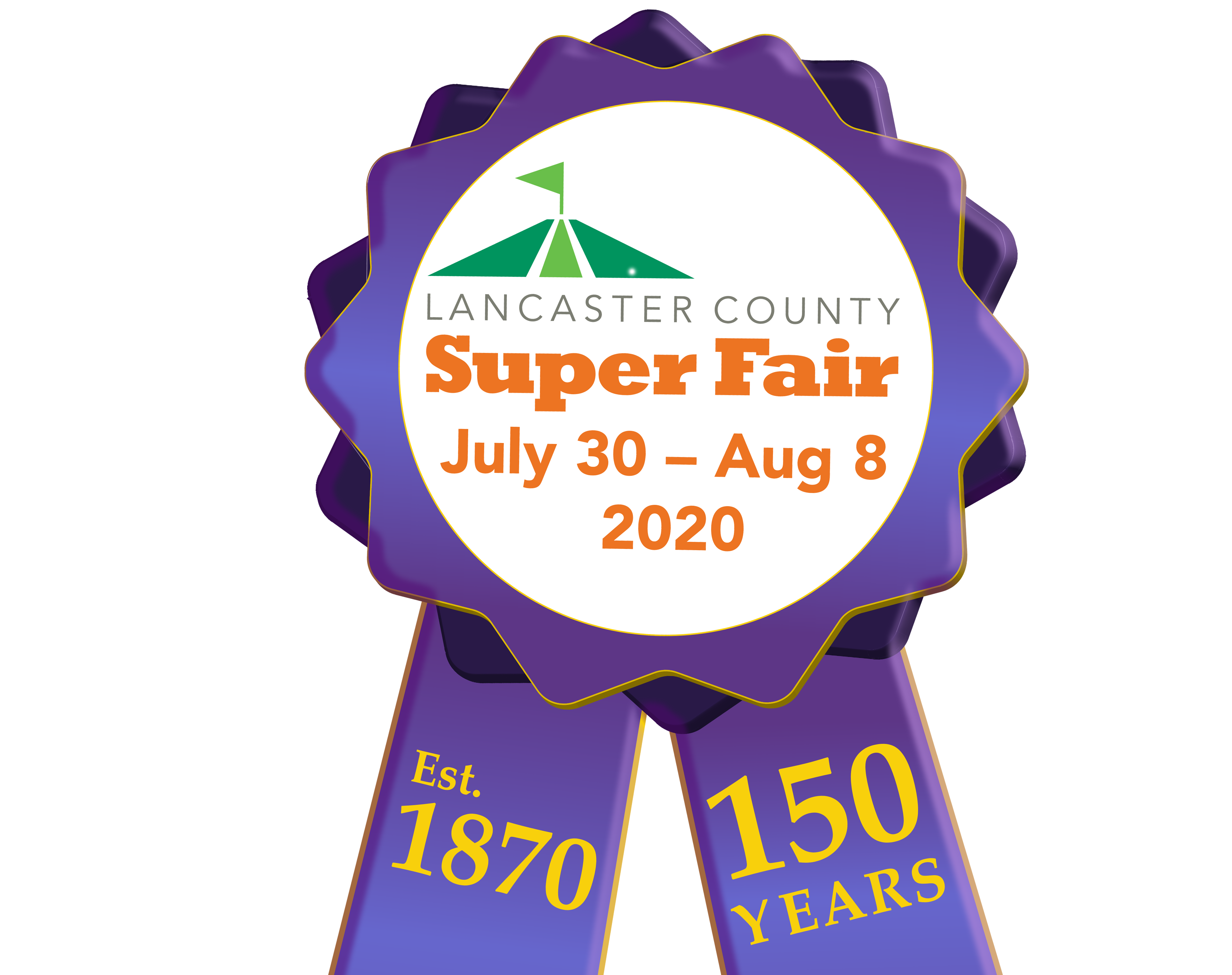 2020 Super Fair logo 150 ribbon close up